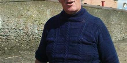 Retired Cockenzie & Port Seton fisherman, Archie Johnston in his Gansey